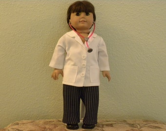 "Doctor's Lab Coat, pants & stethoscope designed for 18"" dolls such as American Girl"