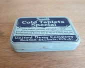 Vintage tins, Vintage Advertising, Unused Rexall Cold Tablets Special