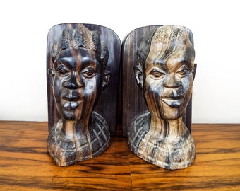 Vintage Hand Carved Ebony Wooden Book Ends, Unique African Tribal Home Library Decorations, Wood Folk Art Womens Faces Hardwood Bookends