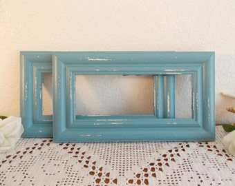 Blue Picture Frame 4 x 10 Rustic Shabby Chic Distressed Vintage Wood Beach Cottage Coastal Seaside French Country Farmhouse Home Decor Gift
