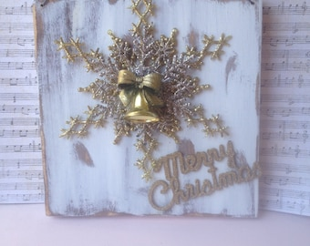 Shabby Chic Gold and White Snowflake Hanger, Wooden Merry Christmas Snowflake Sign