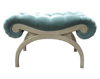 Mid Century Hollywood Regency Tufted Sky Blue Bench Dorothy Draper