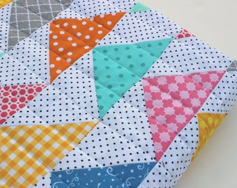 Baby Girl Quilt, Triangle Quilt, Flying Geese Baby Quilt,  Baby Quilt