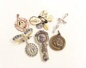 destash salvaged lot religious charms saint medals pendants assorted  assemblage 10 pcs lot R106