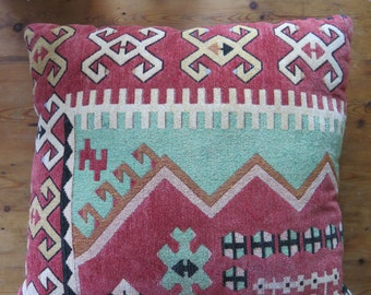 Vintage KILIM Turkish Tribal Stuffed Velvet Backing Decorative Throw Pillow