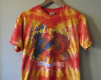 Vintage 1980's Philippines Tie Dye SabongThe Ultimate Fighter Tourist T-Shirt, Size S