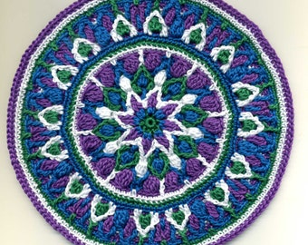 Miniature Round Mandala Mat Carpet Rug - Blue, Green, Violet and White