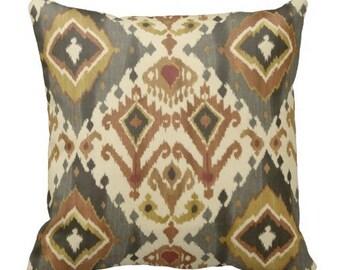 """12"""" pillow cover, 12x12 inch ikat pillows, pillows, ikat pillows, ikat throw pillows, pillows for couch, earth tone pillows, grey pillows"""
