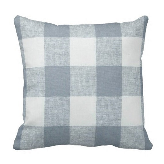 Steel Blue Throw Pillows : Blue Plaid Pillows Steel Blue accent Pillows buffalo check