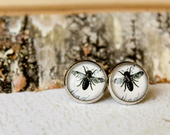 Bee Glass Cab Earring Studs