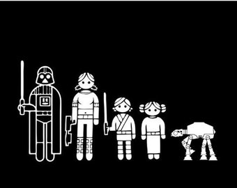 Star Wars family vinyl decal 16in x 8.5in