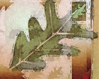 Autumn Oak Leaf Art - Green, Gold, Russet