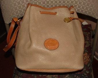 "SALE-very vintage DOONEY & BOURKE - bag- purse soft tan pebble leather 10"" tall- crossbody too"