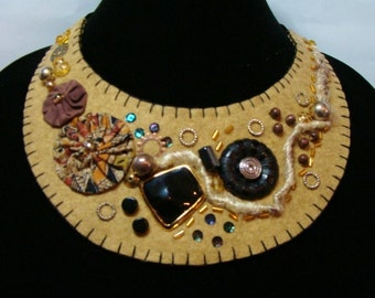 Wool Felt Statement Necklace Haybale Beaded Sequin Accents Handmade