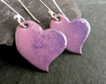 Enamel Heart Earrings, Pink Heart Earrings, Lilac Earrings, Torch Fired Enamel, Sterling Silver Ear Wires, Enamel Jewelry, UK Seller