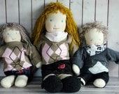 Fabric cloth doll Little Red riding hood doll Ready to ship, rag doll, girl soft toy, fabric doll,woodland doll,  girl cloth doll