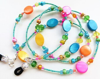 CHEERFUL SUMMER- Beaded Eyeglass Lanyard/ Eyeglass Chain- Mother of Pearl, Lucite Beads, Sparkling Crystals, and Spectra Beads