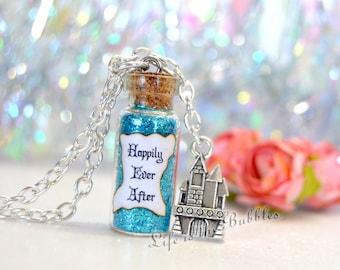 Disney Jewelry, Happily Ever After Magic Bottle Necklace Castle Charm, Cinderella Wedding, Fairy Tale Disney Wedding, Disney Bride Gift