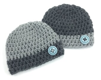 Coordinating Hats, Newborn Twin Beanies, Newborn Twin Baby Hats, Boy Beanies, Chunky Baby Boy Hats, Baby Photo Prop, Fall Winter Hats
