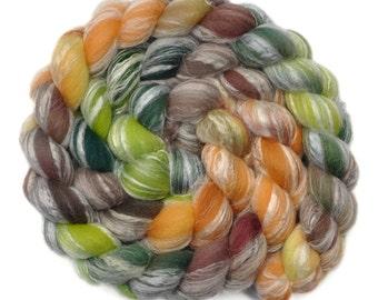 Hand painted roving - Bamboo / Merino wool spinning fiber - 4.0 ounces - Yeoman Farmer