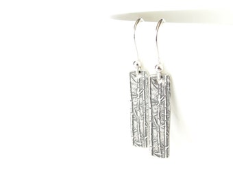 Stocking stuffer earrings, rustic artisan silver earrings with bamboo charms, reversible pendant with Chinese calligraphy, Far East inspired