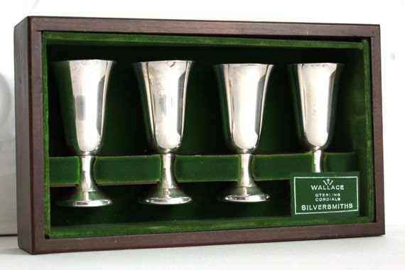 Wallace Sterling Silver Cordials - Wood Box Set Of 4 - wedding gift - 72g FREE SHIPPING