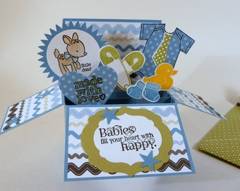 Pop up Baby Boy Card, 3D card in a box, new baby card, blue, green, hand stamped card, handmade envelope, baby shower card, interactive card
