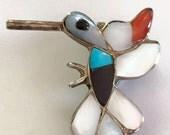Vintage Zuni Inlay Sterling Silver Hummingbird Brooch Pendant