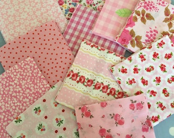 "40 x 5"" pink  cotton fabric patchwork squares ,sewing,patchwork,quilt,quilt making,crafts,childrens crafts"