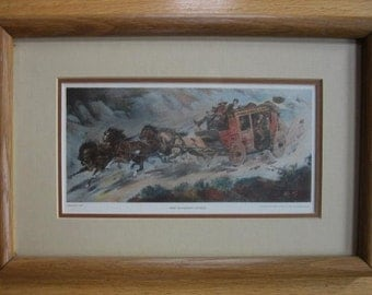 The Runaway Stage 1935 by Jerome H Smith Western Art Framed Darvill's Print