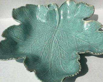 California pottery aqua blue chip bowl large leaf