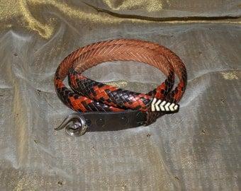 Vintage Leather Snake Belt Rattle Snake