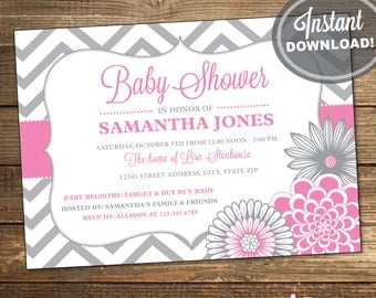 Pink Baby Shower Invitation / Pink and Grey Chevron / Baby Girl / Printable File INSTANT DOWNLOAD