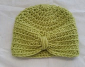 CLEARANCE!! Newborn Turban Style Hat- Chartreuse- Ready to Ship