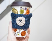 READY TO SHIP: Navy Blue Bear Cup Cozy Crochet Cup Cozy Crochet Animals Coffee Mug Cozy Reusable Cup Sleeve Stocking Stuffers Under 10