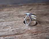 Diamond shaped silver ring geometric open ring unique ring for her