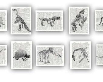 Dinosaur Prints, dino poster,  Prehistoric Animal Skeletons dino illustrations, Set  dictionary page prints, educational, kids room decor