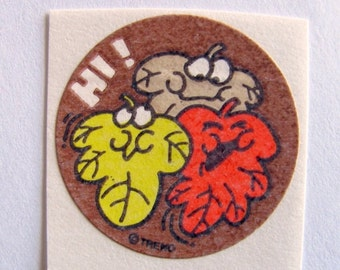 ON SALE Vintage Trend Scratch and Sniff Autumn Leaves Sticker - 80's Unique Retro Gift - Hi! Scrapbook Collectable Scented