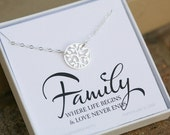 Family tree necklace,large family tree,tree of life necklace,Family O life necklace,Mother necklace,Mother in law gift,family note card