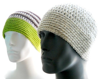 CROCHET PATTERN: The 4 Guys Beanie for Men, Crochet Hat Pattern, Instant Download PDF