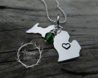 Michigan Necklace - aluminum, hand stamped, Michigans upper and lower peninsula necklace - perfect for Michigan lovers and visitors!