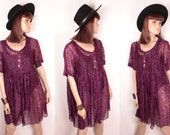 sheer lace babydoll dress // button front