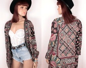 vintage tribal print jacket // oversize // cuffed sleeves