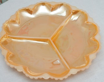 Anchor Hocking Fire King Lusterware Divided Snack Dish