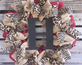 Burlap Wreath, Monogrammed Wreath, Initial Wreath, Red Burlap, Animal Print Wreath, Cheetah, Zebra and Leopard Decor, Door Hanger