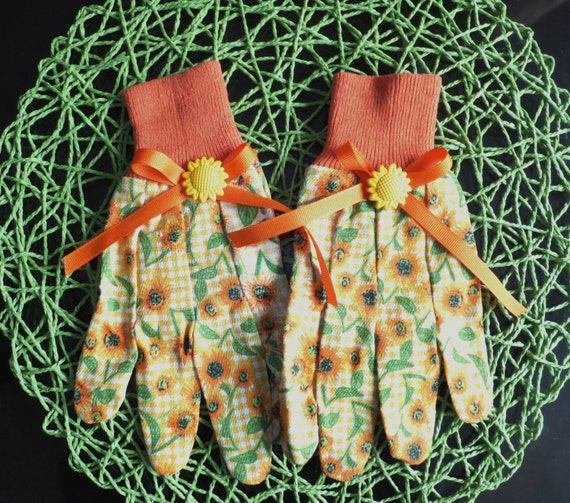 Sunflower Garden Gloves Orange Polka Dot by juliegalbraith