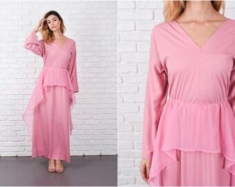 Pink Boho Hippie Dress Vintage 70s  Peplum Maxi V neckline Medium M 8335
