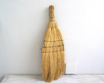 Hand Whisk Broom, Farmhouse  Decor Wall display, Primitive Straw Broom, Rustic Kitchen Decor, Vintage Kitchenware, Woodland Cabin Decor