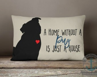 "Pug Home Lumbar Pillow - Dog Love Country Chic Pet Decor - 12 x 18"" Long Oblong Pillow"