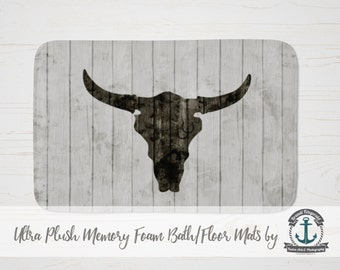 Plush Bath Mat - Cowboy Bull | Rustic Wood Plank Look Country Chic  | Thick Memory Foam + Mold Resistant | Choose Size at Checkout.